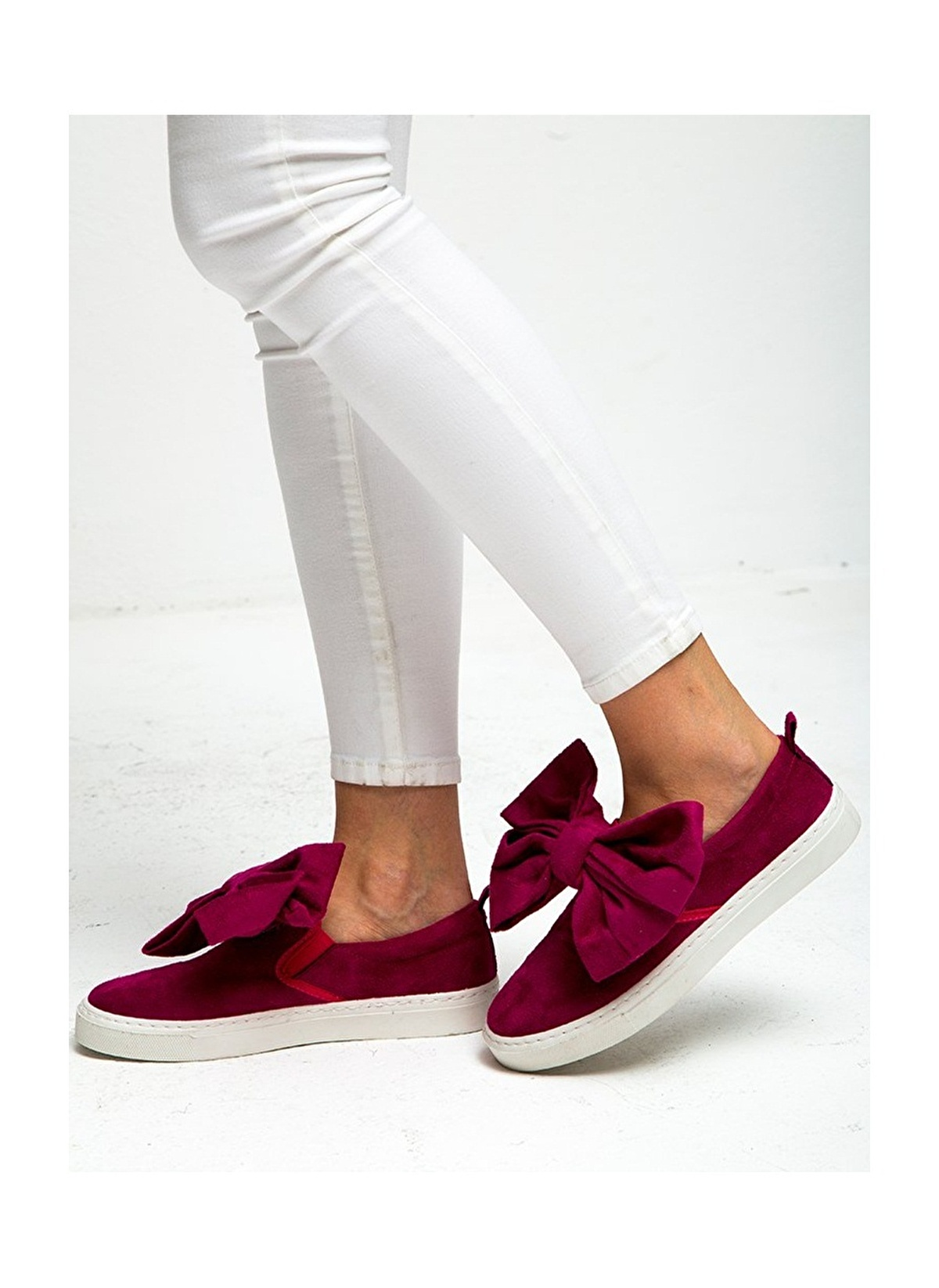 Fiyonklu fuşya ayakkabı